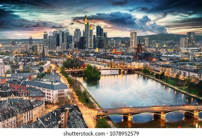 High resolution panoramic view of Frankfurt, Germany after sunset.