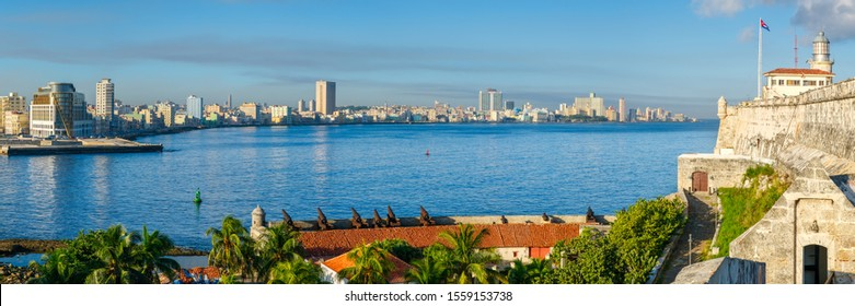 High resolution panoramic view of Havana with El Morro castle and the city skyline