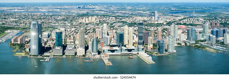 High resolution panoramic view of Jersey City and the Hudson River on a beautiful summer day