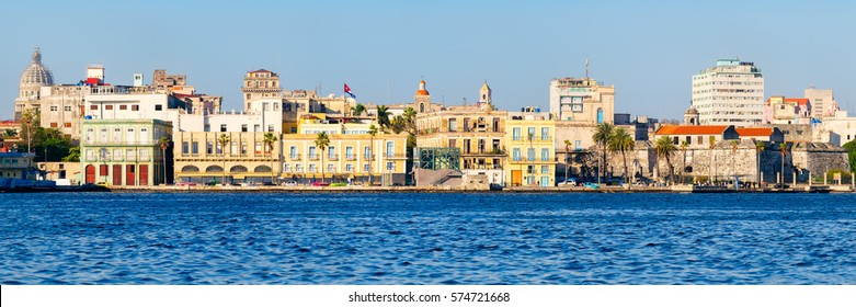 High resolution panoramic view of Old Havana in Cuba with several seaside colorful buildings and famous landmarks