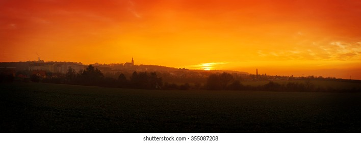 High resolution panoramic view on a sunset over an european small town