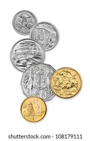 High resolution photo of Australian coins, 5 cents, 10 cents, 20 cents, 50 cents, 1 dollar, and 2 dollars
