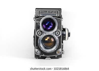 High resolution photo of most popular Twin Lens Reflex (TLR) medium format 120 roll film camera from 1960 for street photography that manufactured by Franke & Heidecke from Germany in name Rolleiflex.
