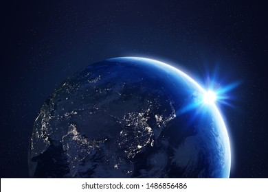 High Resolution Planet Earth view. The World Globe from Space in a star field showing the terrain and clouds. View Asia Area.
