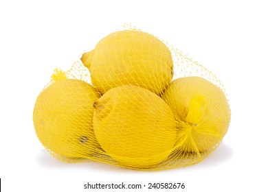 High resolution and quality photo of ripe lemons in a net bag on a white background.