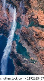 High resolution satellite image of 2017s wildfires near San Francisco, Oakland and Silicon Valley from above, air perspective, natural background map, contains modified Copernicus Sentinel data [2017]