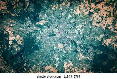 High resolution satellite image of Berlin, Germany, from above, aerial view, natural background map, contains modified Copernicus Sentinel data [2018]