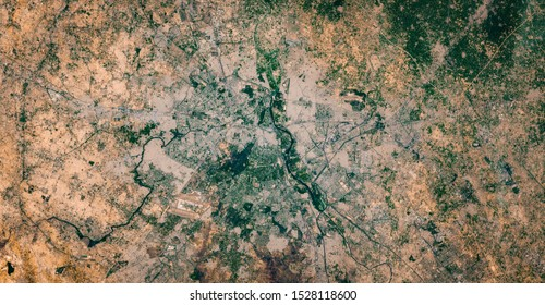 High resolution satellite image of Delhi and New Delhi metropolitan area, the capital of India, from above, aerial view, natural background map, contains modified Copernicus Sentinel data [2019]