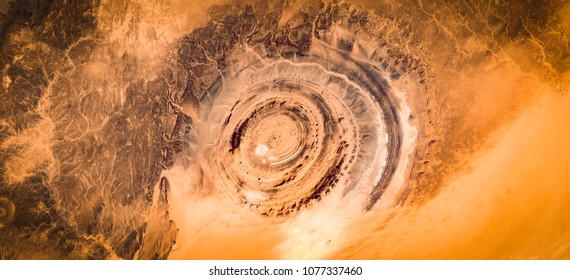 High resolution satellite image of Guelb er Richat (Eye of Sahara, Richat impact crater structure), birds eye view, Mauritania, contains modified Copernicus Sentinel data [2018]