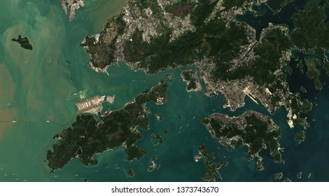 High resolution satellite image of Hong Kong City, China, based on Copernicus Sentinel 2 imagery 2019
