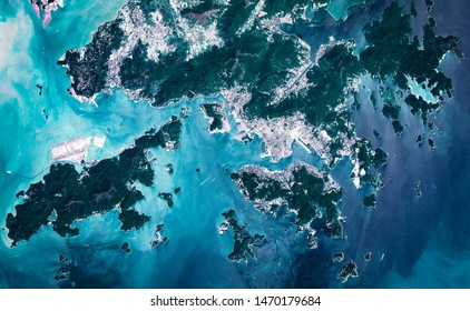 High resolution satellite image of Hong Kong metropolitan area from above, aerial view, contains modified Copernicus Sentinel data [2018]