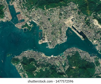 High resolution Satellite image of Hong Kong, China (Isolated imagery of China. Elements of this image furnished by NASA)