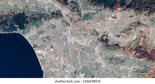 High resolution satellite image of Los Angeles, California, United States, aerial full view, map, contains modified Copernicus Sentinel data [2018]