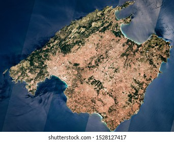 High resolution satellite image of Majorca island from above, balearic islands from above, aerial view, natural background map, contains modified Copernicus Sentinel data [2019]