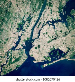 High resolution satellite image of New York City and New Jersey from above, United States, full view, aerial view, city background map, contains modified Copernicus Sentinel data [2017]