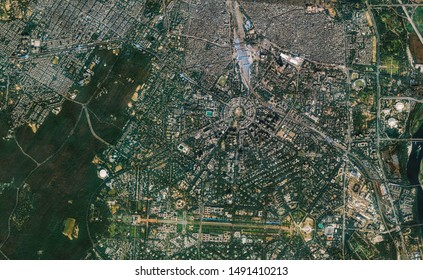 High resolution Satellite image of New Delhi, India (Isolated imagery of India. Elements of this image furnished by NASA)