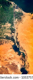 High resolution satellite image of Suez Canal from above, Egypt, high resolution air perspective, background map, satellite image, contains modified Copernicus Sentinel data [2018]