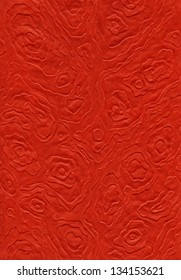 High resolution scan of red rice paper with a decorative pattern made of amorphic mandalas.