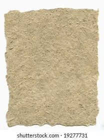 High resolution scan of thick brown rice paper with torn edges