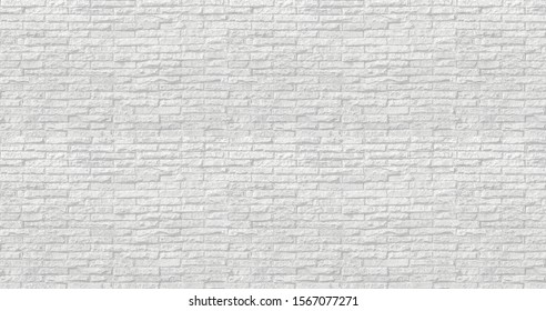 High Resolution of Soft Color or White Bricks Wall Panoramic as Background