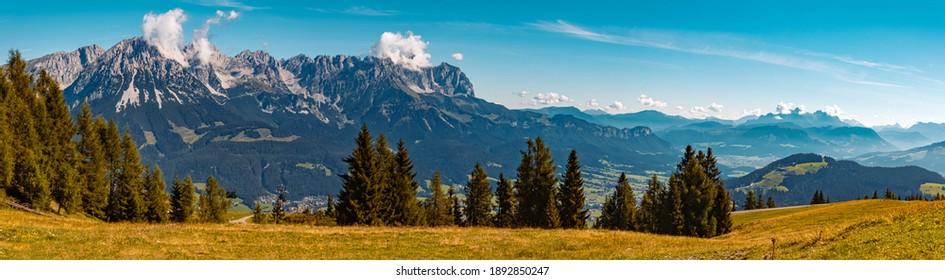 High resolution stitched panorama of a beautiful alpine summer view at the famous Hartkaiser summit, Ellmau, Wilder Kaiser, Tyrol, Austria - Shutterstock ID 1892850247