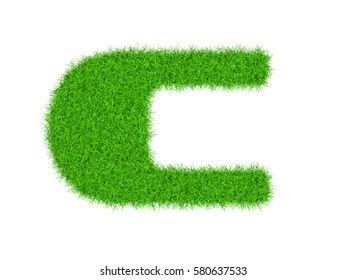 High resolution upper case letters made of green grass alphabet isolated on white background