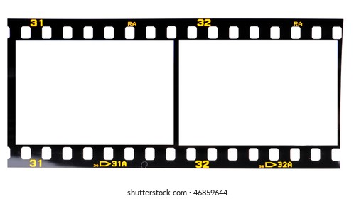 High resolution white background macro studio image of a blank 35mm slide film on lightbox