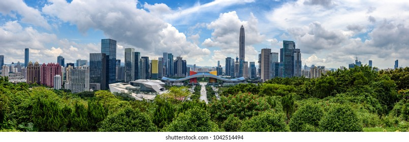 High resolution wide panorama of Cityscape of Shenzhen, China