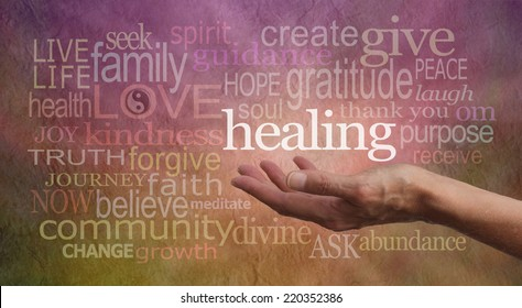 High Resonance Healing Words Website Banner - Female Healer's outstretched open hand surrounded by random wise healing words on a rustic stone effect background