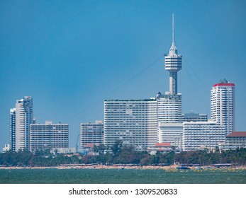 High rice buildings and the tower of Pattaya Park along Jomtien Beach in Pattaya, Thailand