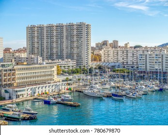 High rise apartment building dominates the marina in the city of Toulon, France