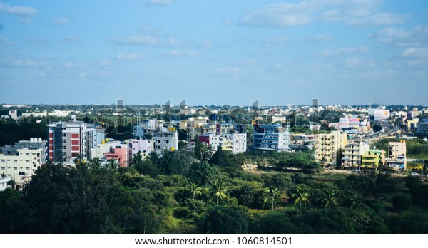 High rise architectural buildings around the Bangalore city isolated unique stock photo