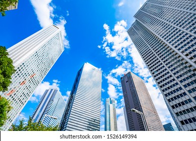 High rise buildings and blue sky