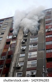 High rise buildings on fire