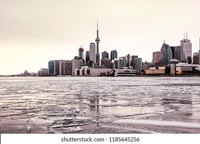 High rise buildings at sunset in winter. Lake Ontario, Toronto, Canada