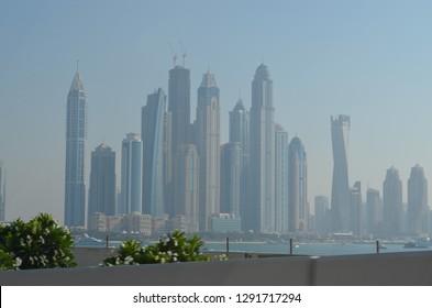 High rise city skyline of Dubai