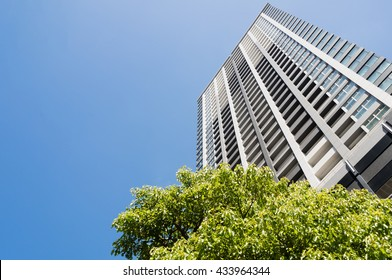 High rise condominium against blue sky. Low angle view of the building over the trees.