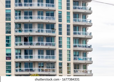 High rise condominium type apartments with walk out balconies  and sliding glass doors and windows in downtown Fort Lauderdale off the New River Las Olas area of Broward County Florida United States