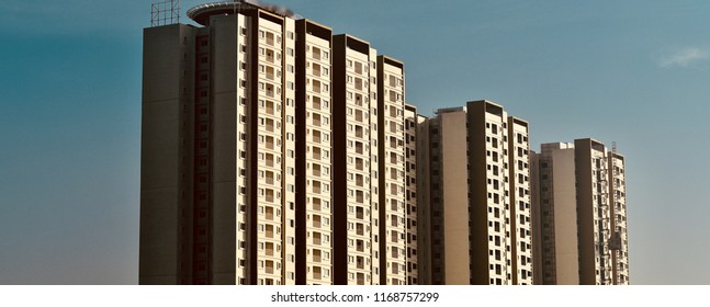High rise modern architectural building in Bangalore India unique photograph