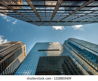 High rise office buildings from bottom up view at Philadelphia