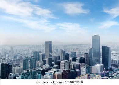 high rise office buildings in Seoul city, winter daylight wiht han river, Seoul, republe of  Republic of Korea, in fog winter