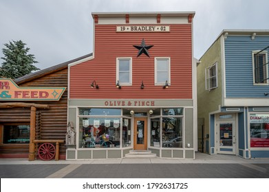 High River, Alberta - August 31, 2020: Businesses in the historic centre of High River in Alberta, Canada. High River is a beautiful country city on the prairies.