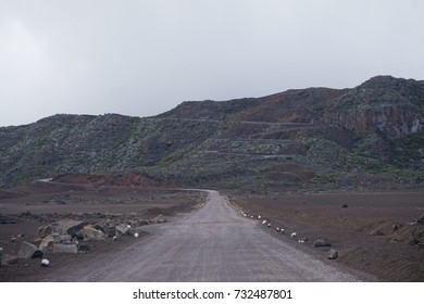 The high road to the volcano with his switchbacks turns in La Reunion, France - Shutterstock ID 732487801