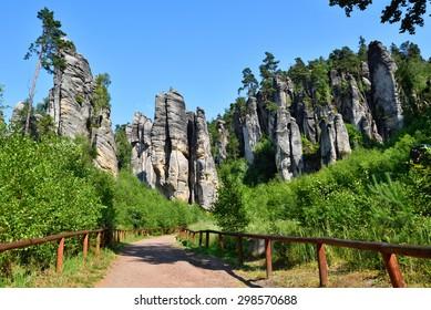 High rock towers in Bohemian paradise