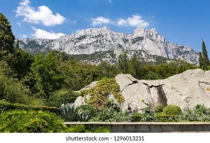 High rocks Ai-Petri of Crimean mountains. Russia.