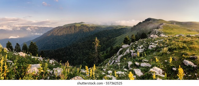 High Rocky alpine meadow panorama in Mountains and blue sky Landscape in Abkhazia Summer Travel concept