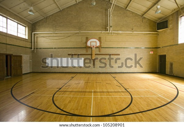 """High school basketball court and """"head of key"""" at Webster Groves High School in Webster Groves, Missouri"""