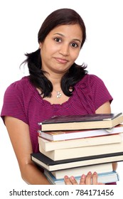 High school female student with stack books