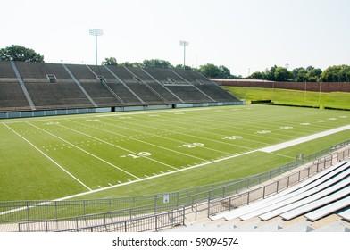 High school football stadium showing entire field.