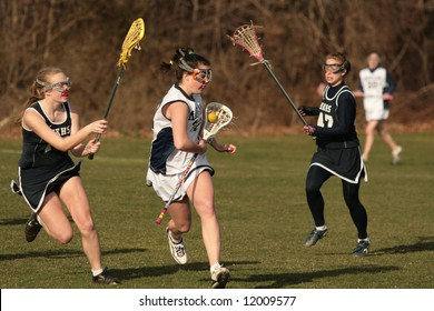 High School girls lacrosse. Editorial use